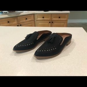 Studded Faux Black Leather Mules